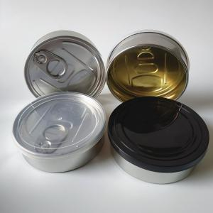 Ready to ship press tin with black or clear top and custom labels - SafeCare