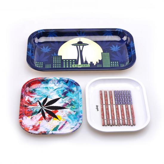 Raw Custom Rolling Tray Metal Tobacco Weed Tin Tray - SafeCare