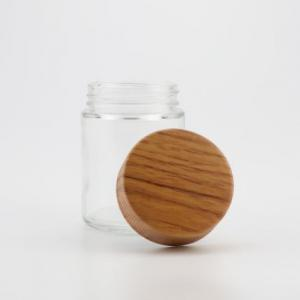 Flat Wooden Cap CR Flower Glass Jar - SafeCare