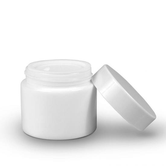 White Round Glass Jar with Child Resistant Lid - SafeCare