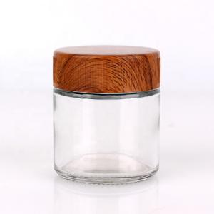 child resistant proof lid glass containers jars with wooden child resistant cap