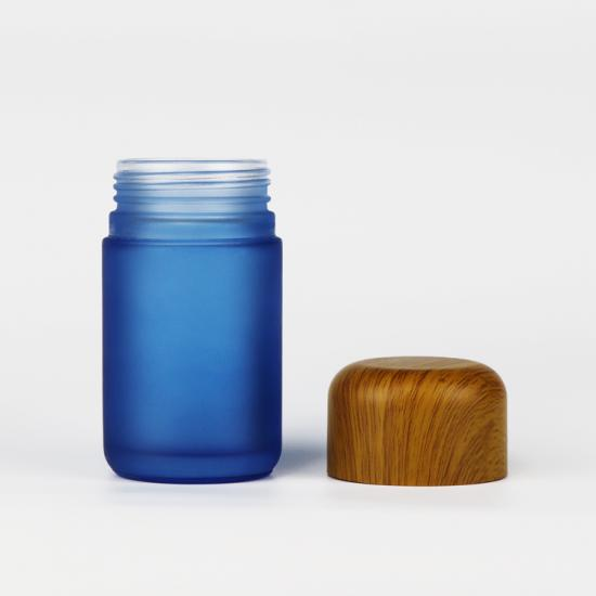 Child Proof Resistant Glass Storage Jar with CRC Wooden Top Cap for Weed
