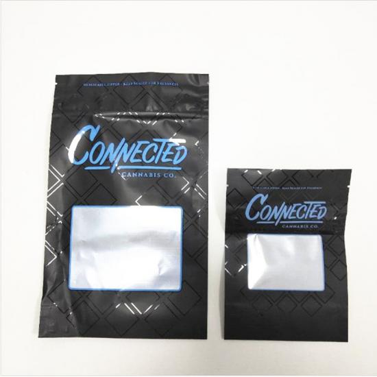 3.5gram Black Connected California Compliant Child Resistant Mylar Bag
