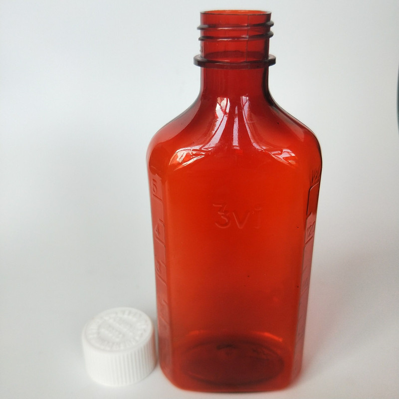6oz 180ml CRC Amber Syrup Medical PET bottle with measuring cup